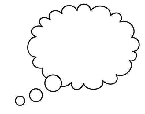 thinking cloud writing template thought bubble outline coloring pages clipart best