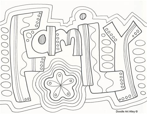 family doodle coloring page zentangle word wuote art
