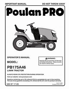 Poulan Pro Pb175a46 Lawn Tractor User Manual