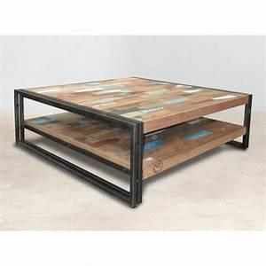 Table Basse Carrée 100x100 : table basse carr e bois recycl double plateaux 100x100 ~ Teatrodelosmanantiales.com Idées de Décoration