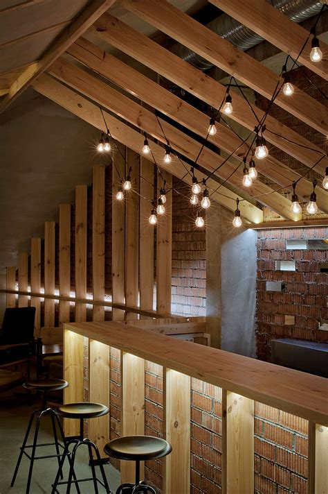 ravishing attic bar blends rustic textures