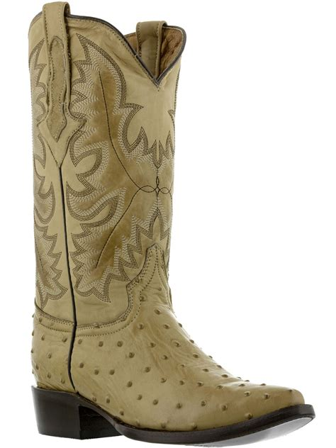 mens sand beige ostrich exotic crocodile western leather cowboy boots