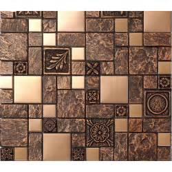 tile murals for kitchen backsplash brushed stainless steel tiles brass resin metal mosaic