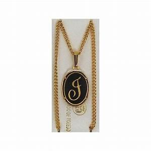 damascene gold letter j oval pendant With gold letter j pendant