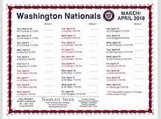 Printable 2018 Washington Nationals Schedule