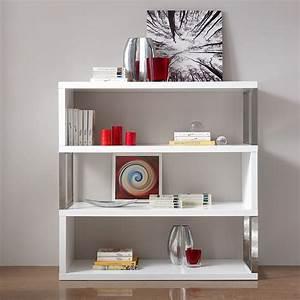 Meuble Bibliothque Blanc Laqu Et Chrome Design AUSTIN