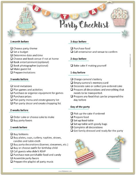 life easing birthday party checklists kittybabylovecom