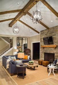 Cozy Contemporary Rustic Family Room Stone Fireplace
