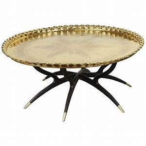 large polished brass tray coffee table on spider leg for With brass leg coffee table