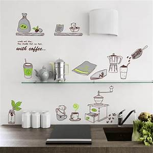 cartoon kitchen supplies romantic western restaurant tiles With best brand of paint for kitchen cabinets with coffee wall stickers