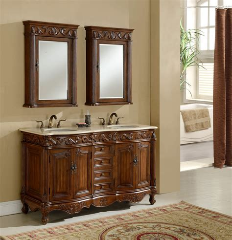 "60"" Tuscany Teak Double Sink Bathroom Vanity   Antique"