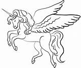 Unicorn Coloring Winged Printable sketch template