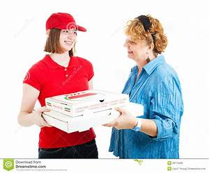Pizza Home Delivery On White Stock Photo - Image of first ...