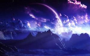 mountains clouds outer space birds planets purple ...