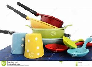 Bright Colorful Modern Kitchen Pot And Pans Stock Photo ...
