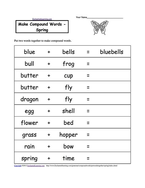 compound words spring worksheets for different lessons