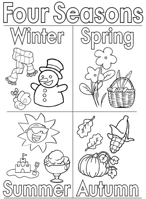 seasons coloring pages coloring pages    print