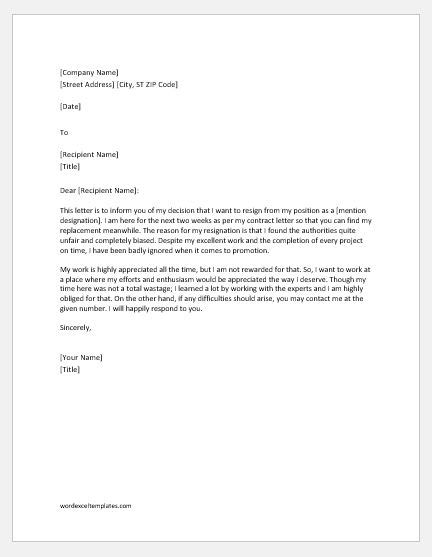 Resignation Letter Due to Unfair Treatment | Word & Excel Templates
