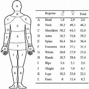 Human Body Diagram With The Identification Of Pain  Discomfort Regions