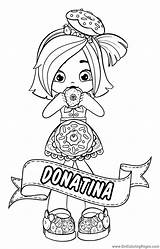 Shopkins Shoppies Coloring Dolls Pages Shoppie Doll Donatina Printable Chef Club Colour Jessicake Bubbleisha Nepal Getcolorings sketch template