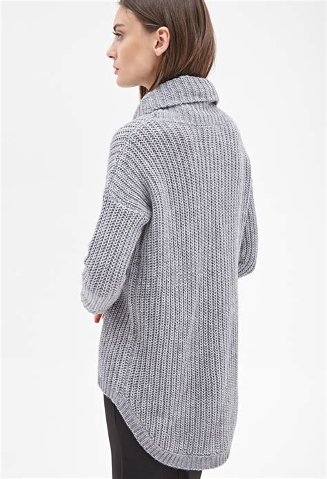 oversized sweater forever 21 oversized turtleneck sweater in gray lyst