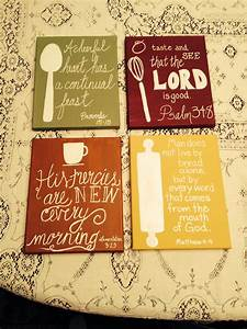 Scripture paintings i did for my kitchen things i39ve for Kitchen cabinets lowes with bible verses on wall art