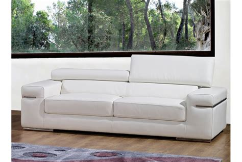 canape cuir 3 places deco in canape 3 places en cuir blanc can 3p pu blanc