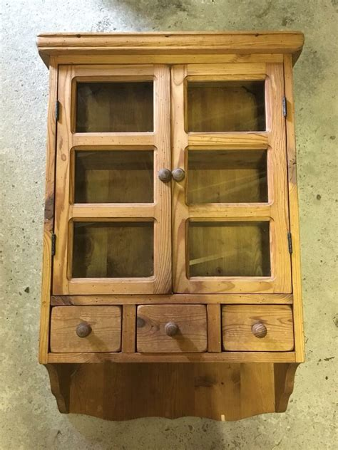 wooden pine wall cupboard cabinet  glass doors   draws  elgin moray gumtree