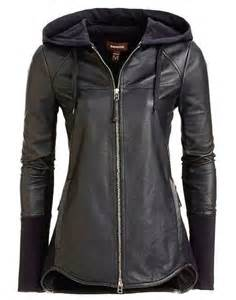 Black Leather Jacket with Hoodie Women