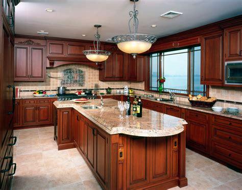 cherry kitchen cabinets   beautiful workspace