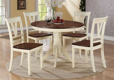 5 Pc Country 2tone Cream Cherry Wood Round Dining Table