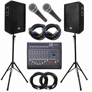 Seismic Audio Power Mixer  Pa Dj 15 U0026quot  Speakers  Stands  U0026 Cable Package