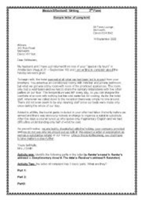 letter  complaint worksheets