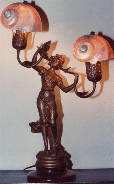 art nouveau lamp  nautilus shell shades  surfaced   silivecom