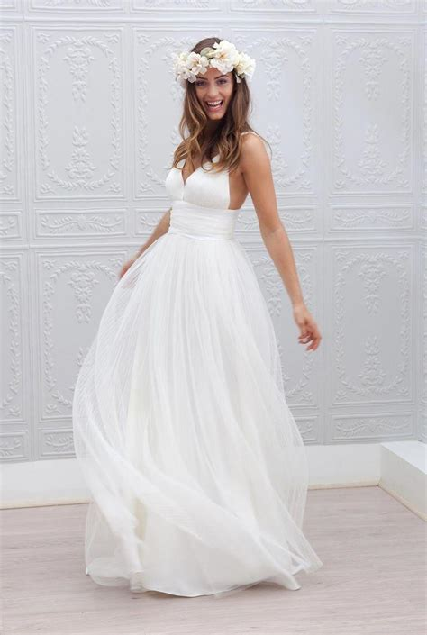 beach wedding dresses spaghetti straps pure white ruched