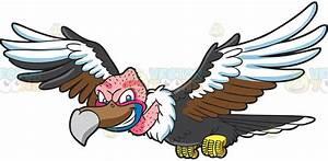 A Flying Vulture Cartoon Clipart - Vector Toons
