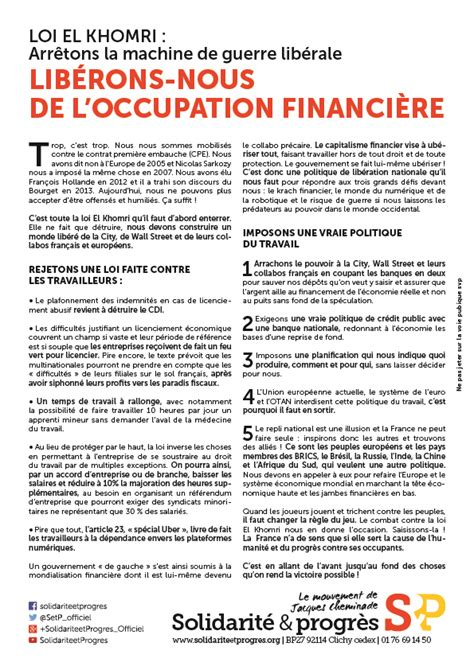 Modification Du Contrat De Travail El Khomri by Tract Loi El Khomri Lib 233 Rons Nous De L Occupation