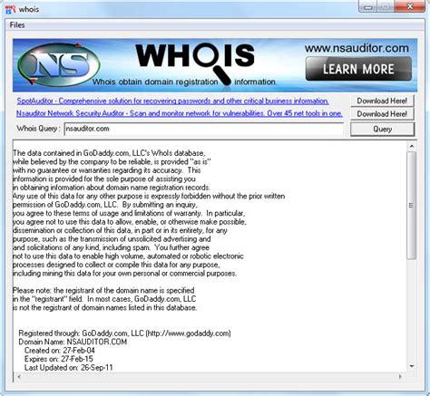 whois obtain domain registration information