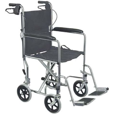 standard steel transport chair with brakes at