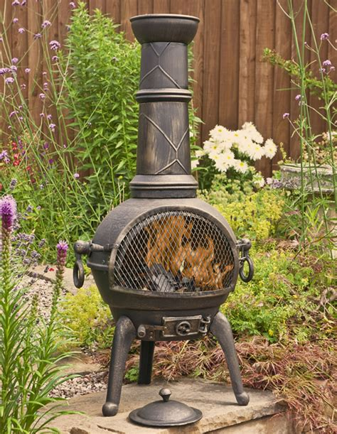 sierra bronze large cast iron chiminea  grill  la