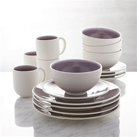 jars tourron purple  piece dinnerware set crate  barrel