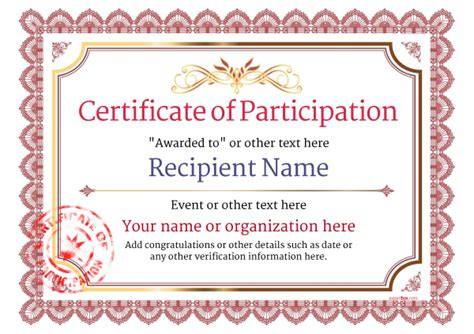 Certificate Of Participation Template Participation Certificate Templates Free Printable Add