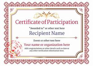 participation certificate templates free printable add With free templates for certificates of participation