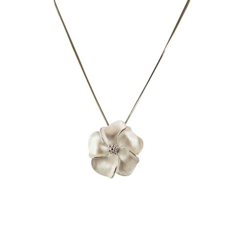 pearl and pendant necklace pansy white enamel flower silver tone pendant necklace