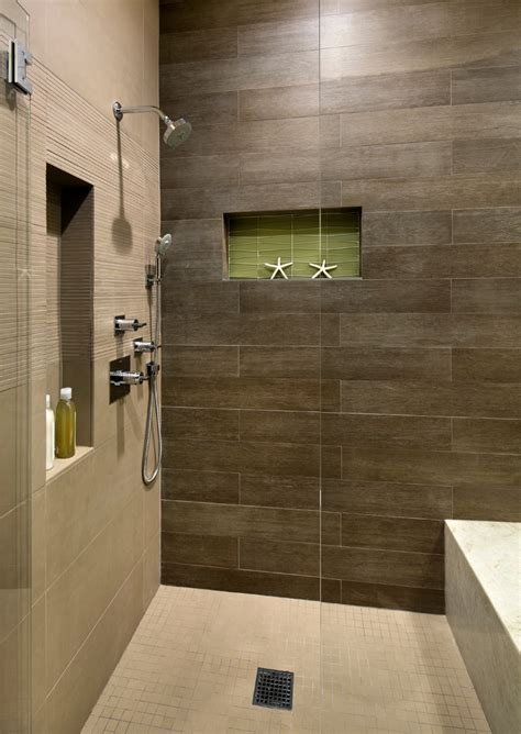 wood plank tile Bathroom Beach with built in shower bench