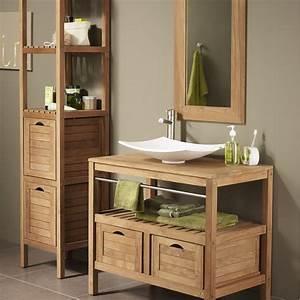 meuble salle de bain bois pas cher With les meubles de salle de bain