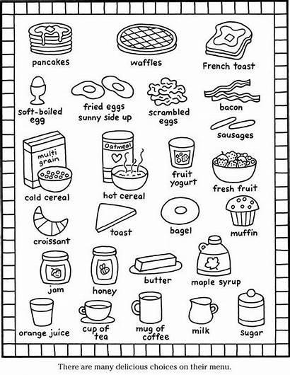 Coloring Pages Breakfast Menu Printable Items Foods