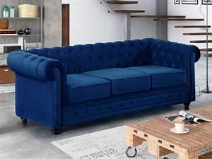 Canapé Bleu Roi : canap 3 places en velours bleu roi chesterfield ~ Teatrodelosmanantiales.com Idées de Décoration