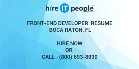 front  developer resume boca raton fl hire  people