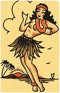 110 Hula Pin Up Girl vintage Sailor Jerry Traditional ...